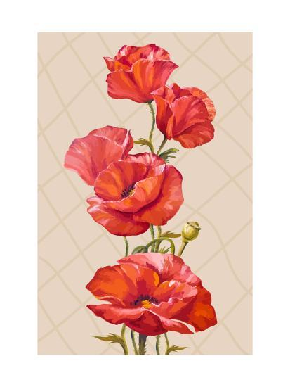 Oil Painting Card With Poppies Flowers Art Print Valenty Art Com