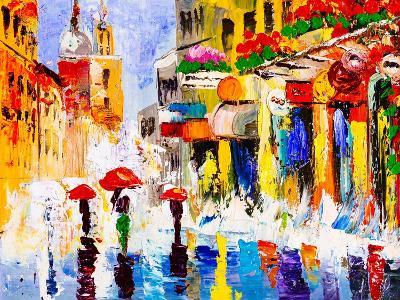 Oil Painting - Colorful Rainy Night-CYC-Art Print