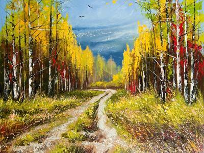 Oil Painting - Gold Autumn-balaikin2009-Art Print