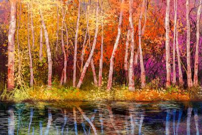Oil Painting Landscape - Colorful Autumn Trees. Semi Abstract Image of Forest, Trees with Yellow --pluie_r-Art Print