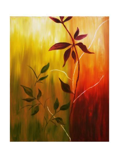 Oil Painting Of Fall Leaves-Acik-Art Print