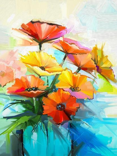 Oil Painting Spring Flower Background. Still Life of Yellow, Pink, Red Gerbera Bouquet in Vase. Col-pluie_r-Art Print