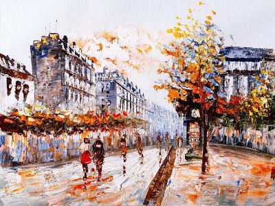 Oil Painting - Street View of Paris-CYC-Art Print