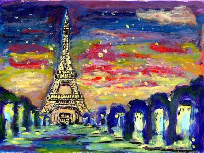 Oil Painting Sunset Paris-jim80-Art Print