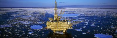 Oil Production Platform in Icy Water, Cook Inlet, Trading Bay, Alaska, USA--Photographic Print