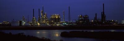 Oil Refinery at Night, Texas, USA