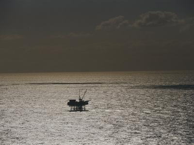 Oil Rig at Sunset-Jason Edwards-Photographic Print