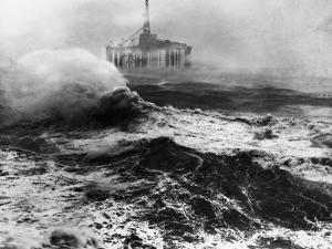 Oil Rig in Stormy Sea