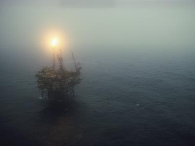 Oil Rig in the North Sea-Dick Durrance-Photographic Print