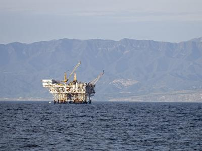 Oil Rig in the Santa Barbara Channel and the Santa Ynez Mountains, California-Rich Reid-Photographic Print