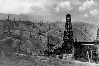 Oil Rigs Near Taft, California--Photographic Print