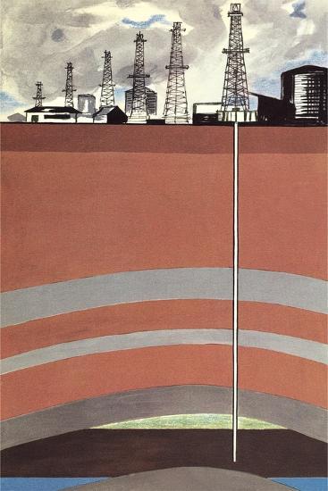 Oil Well Diagram--Art Print