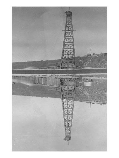 Oil Well Reflected in Pond--Art Print