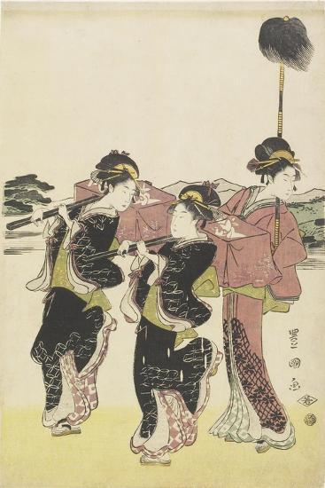 Oiran (High-Class Courtesan) Travelling as a Mitate of Daimyo Procession, 18th-19th Century-Utagawa Toyokuni-Giclee Print