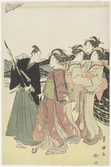 Oiran(High-Class Courtesan) Travelling as a Mitate of Daimyo Procession, 18th-19th Century-Utagawa Toyokuni-Giclee Print