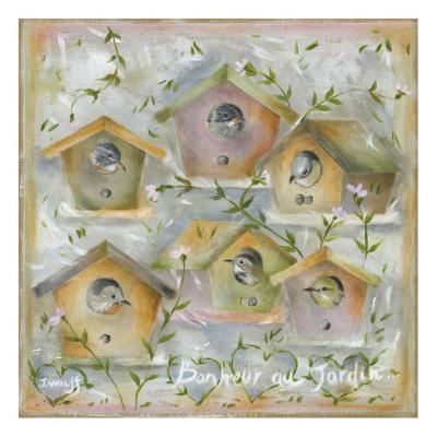 Oiseaux, Bonheur au Jardin-Jo?lle Wolff-Art Print