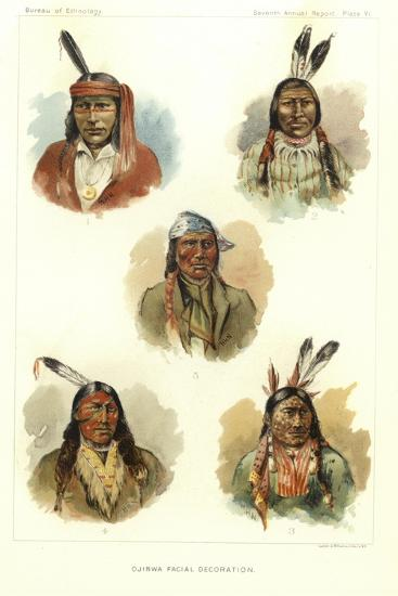 Ojibwa Facial Decoration--Giclee Print