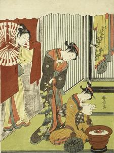 Figures in an Interior. a Courtesan Looking at Her Shinzo Who is Reading a Love Letter by Okada Beisanjin