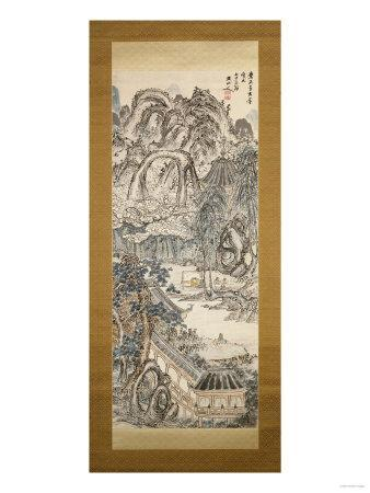 Scholars Preparing Tea, Hanging Scroll, Ink and Light Colour on Paper
