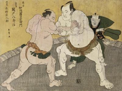 The Wrestling Match Between Kimenzan Tanigoro and Edogasaki Gemji