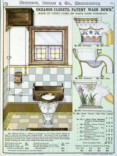 Okeanos Closets from a Catalogue of Sanitary Wares Produced by Morrison, Ingram & Co., Manchester--Giclee Print