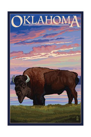 Oklahoma - Buffalo and Sunset-Lantern Press-Art Print