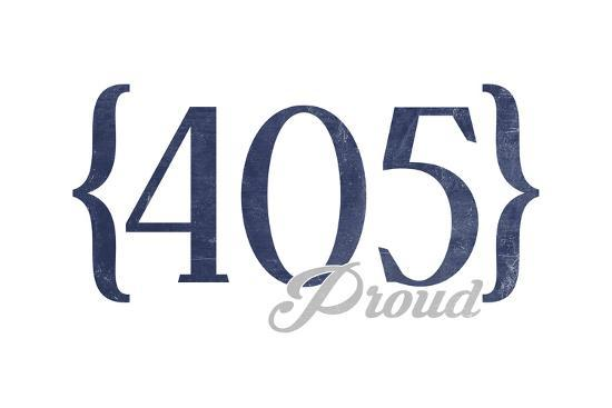 Oklahoma City, Oklahoma - 405 Area Code (Blue)-Lantern Press-Art Print