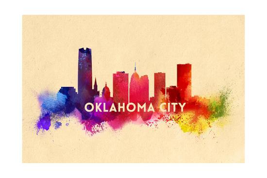 Oklahoma City, Oklahoma - Skyline Abstract-Lantern Press-Art Print