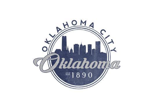 Oklahoma City, Oklahoma - Skyline Seal (Blue)-Lantern Press-Art Print