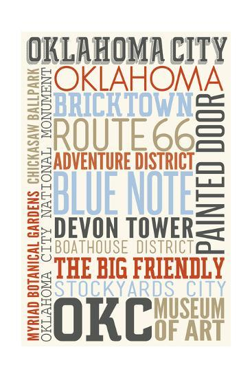 Oklahoma City, Oklahoma - Typography-Lantern Press-Art Print