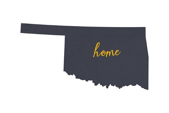 Oklahoma - Home State - Gray on White-Lantern Press-Art Print