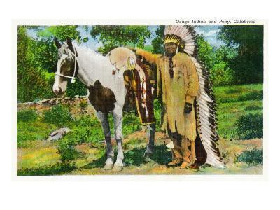 Oklahoma - Osage Indian and Pony-Lantern Press-Art Print