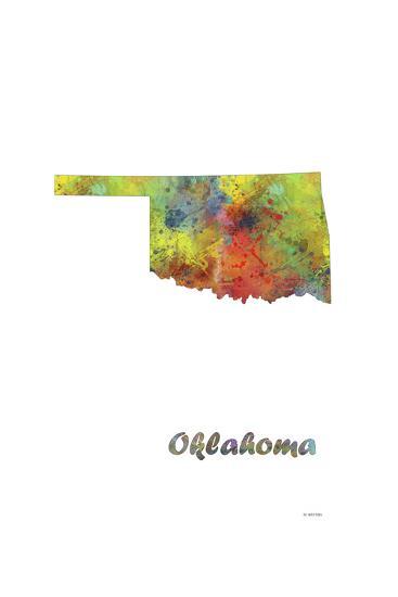 Oklahoma State Map 1-Marlene Watson-Giclee Print