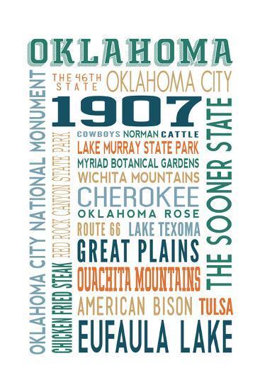 Oklahoma - Typography-Lantern Press-Art Print