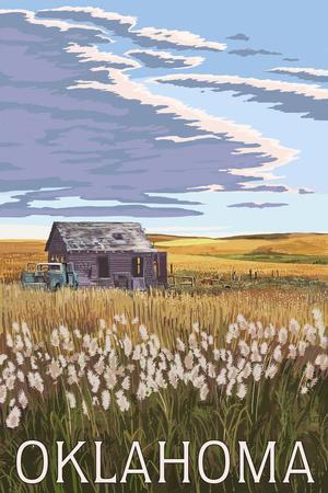 Oklahoma - Wheat Field and Shack-Lantern Press-Framed Art Print