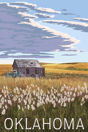 Oklahoma - Wheat Field and Shack-Lantern Press-Art Print