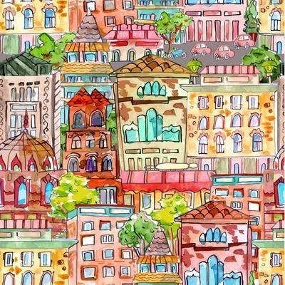 Seamless Texture with a Vintage Cityscape. Watercolor Painting. Vector Illustration