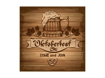Oktoberfest, Vintage Poster With Wooden Background-Pagina-Art Print