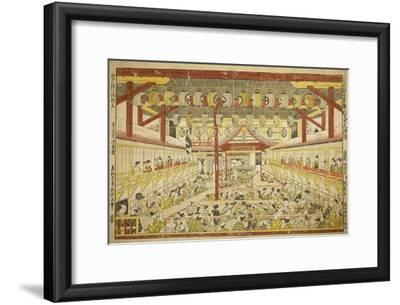 Large Perspective Picture of the Kaomise Performance on the Kabuki Stage, C.1745