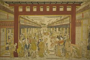 Nakanocho in the Yoshiwara by Okumura Masanobu