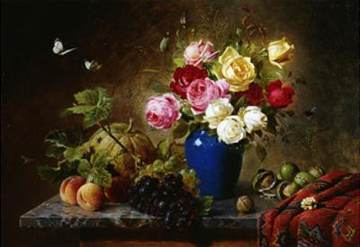 Roses in a Vase, Peaches, Nuts and a Melon on a Marbled Ledge by Olaf August		 Hermansen