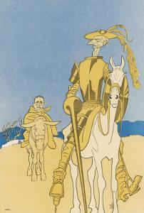 Sir Edward Grey as Don Quixote and Vittorio Emanuele as Sancho Panza by Olaf Gulbransson