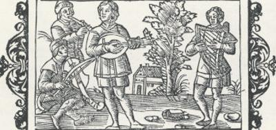 Piper Performs with Players of Three Types of Stringed Instruments, a Rebec a Lute and a Harp