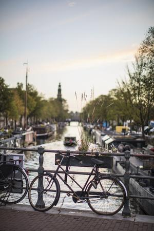 The Netherlands, Holland, Amsterdam, bicycle on railing