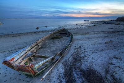Old Abandoned Broken Boat at Sea against Sea Landscape.-sergoua-Photographic Print