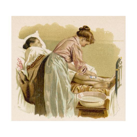 Old Age, Bedridden Bath--Giclee Print