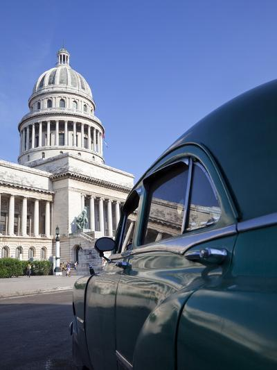 Old American Car Parked Near the Capitolio Building, Havana, Cuba, West Indies, Central America-Martin Child-Photographic Print