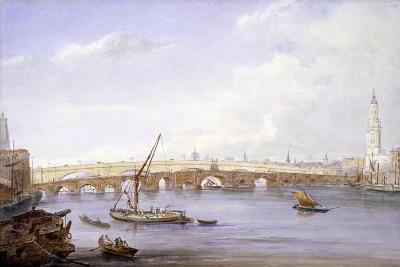 Old and New London Bridges, London, 1831-George Scharf-Giclee Print