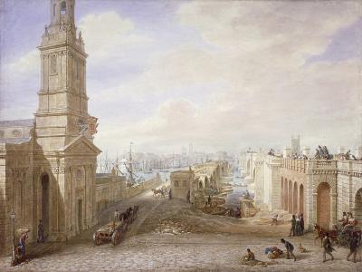 Old and New London Bridges Looking South, London, 1831-George Scharf-Giclee Print