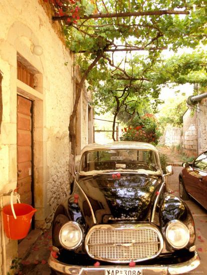 Old Automobile Sedan, Kardamyli, Messina, Peloponnese, Greece-Walter Bibikow-Photographic Print